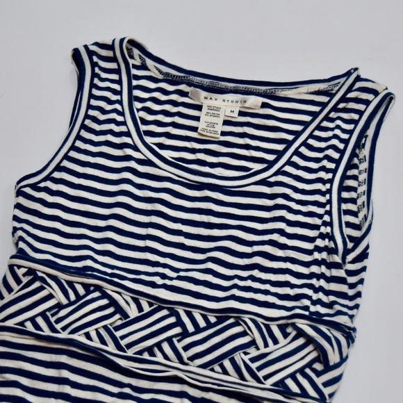 Max Studio Dresses & Skirts - Max Studio Navy Blue White Striped Maxi Dress M
